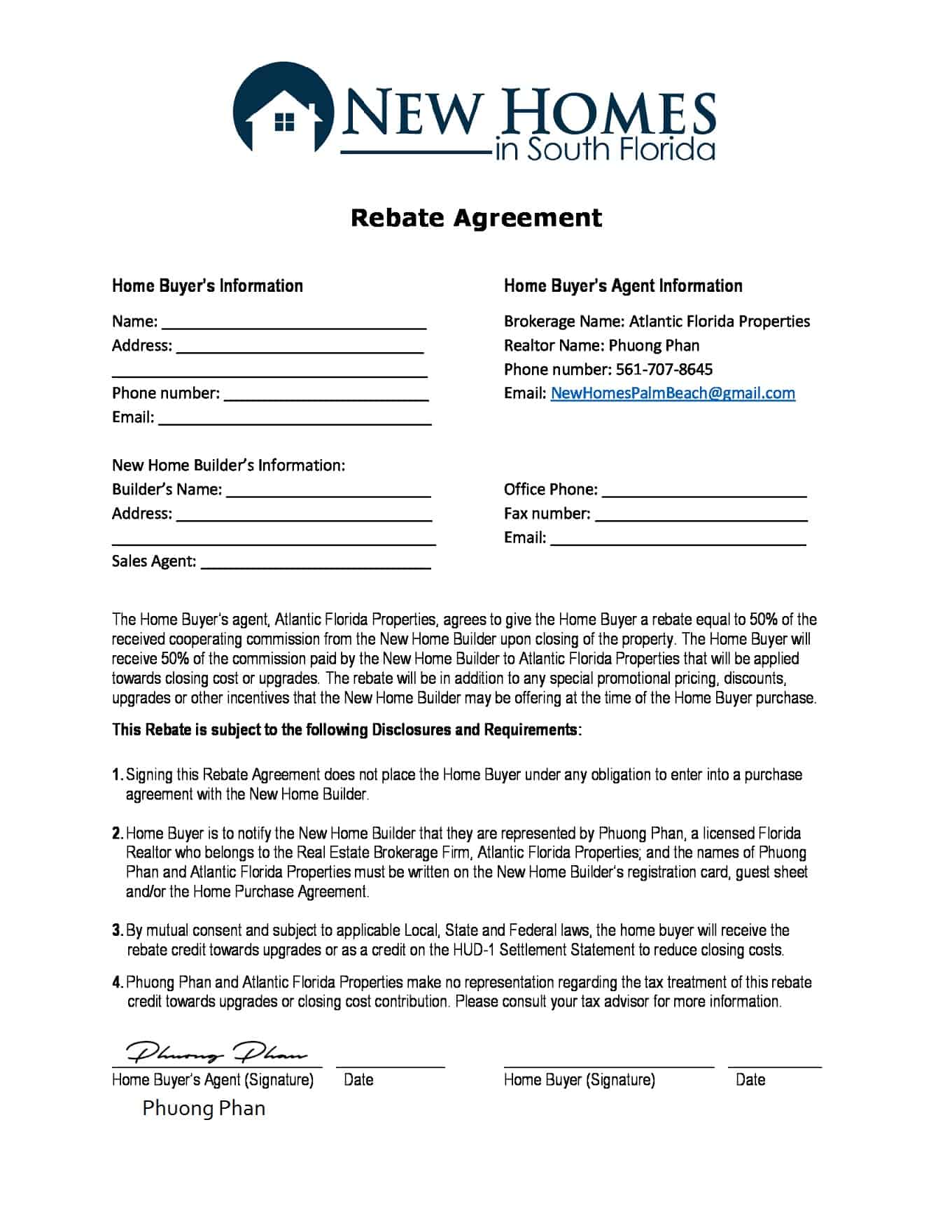 Cashback Rebate Agreement